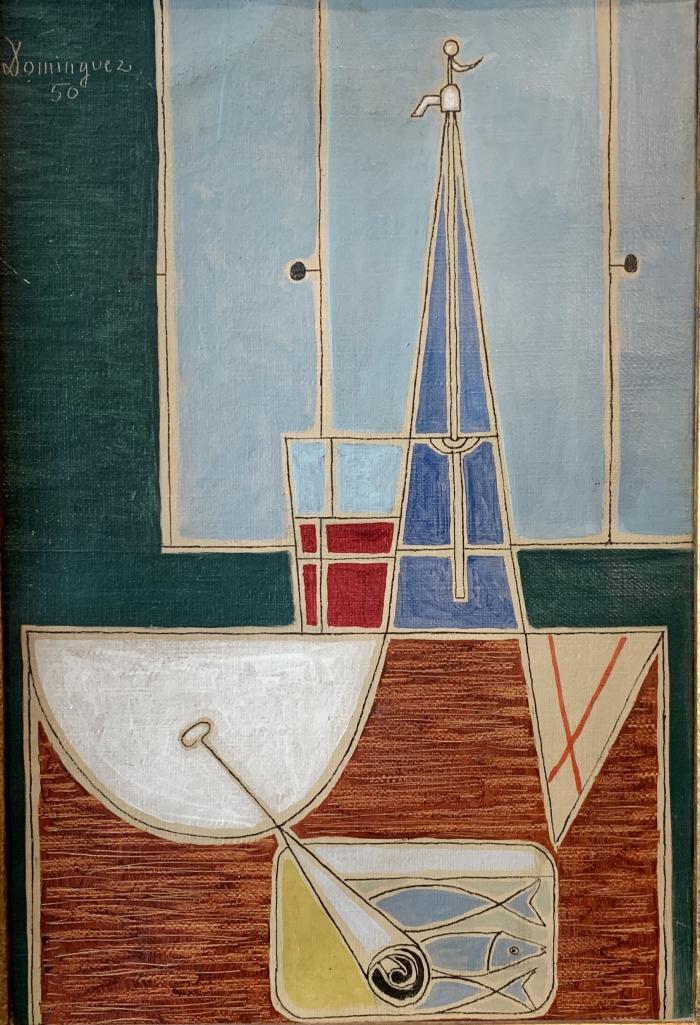 """Oscar Domínguez, """"Naturaleza muerta con sifón y lata de sardinas"""", 1950, oli sobre tela 32 x 22 xm"""