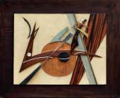 """César Domela, """"Relief nº 16"""", 1943 coure, pell de tauró i de cocodril, llautó, fusta, cuir 50 x 65 cm."""