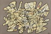 "Jean Dubuffet, ""Parachiffre XXVII"", 1974 pintura sobre paper sobre tela 68,5 x 100,6 cm."