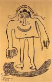 "Gaston Chaissac ""Bonhomme"" 1959 tinta sobre papel Kraft 99 x 65 cm"