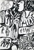 "Jean Dubuffet, ""Site avec 21 personnages"", 1980 tinta china sobre papel 51 x 35 cm."