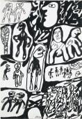 "Jean Dubuffet, ""Site avec 21 personnages"", 1980 tinta xina sobre paper 51 x 35 cm."