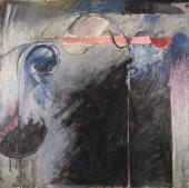 "Alberto Solsona, ""Balcón nocturno"", 1985 óleo sobre tela 160 x 160 cm."