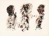 """Henri Michaux, """"Sans titre"""", 1967 acrílic sobre paper 56 x 75 cm"""