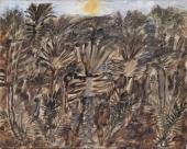 """Jean Dubuffet, """"Palmeraie avec petit soleil jaune"""", 1948 gouache sobre papel 43,5 x 54,2 cm."""