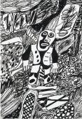 "Jean Dubuffet, ""Site avec 1 personnage"", 1980 tinta xina sobre paper 51 x 35 cm."