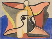 "Auguste Herbin, ""L'homme oiseau"", 1931 gouache, watercolor and pencil on paper 24 x 31,7 cm."