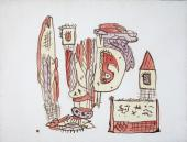 """Gaston Chaissac """"Composition"""" 1942 gouache y tinta sepia sobre papel 50 x 66 cm"""