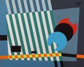 """Enric Planasdurà, """"Sense títol"""", 1970 guaix sobre cartolina 39,9 x 49 cm."""