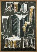 "Alberto Magnelli, ""Pierres n º 6 G"", 1933 tempera on paper on canvas 116 x 83 cm."