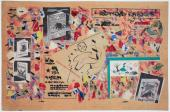 """Gaston Chaissac """"Composition à un personnage à la plume"""" 1955 gouache, collage y tinta sobre papel de periódico 26,8 x 41,2 cm"""