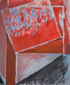 """Alberto Solsona, """"Planos rojos"""", 1979 acrílico sobre papel 85 x 70 cm."""