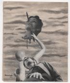 """Nicolás de Lekuona, """"Cabeza amputada (autorretrato)"""", 1937 collage 13 x 8 cm."""