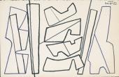 """Alberto Magnelli, """"Etude pour Valeurs en couleur"""", c.1967 felt tip pen on paper 13,6 x 21 cm."""