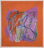 "Alberto Solsona, ""Tema vegetal en violetas sobre naranja"", 1987 acrylic, gouache and ink on paper 67 x 63 cm."