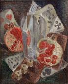 """André Masson, """"Nature morte cubiste aux grenades"""", 1923 oil on canvas 26,7 x 22 cm."""