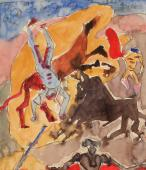 "André Masson, ""Étude pour les chevaux éventrés"", 1935-36 ink and watercolor on paper 18,5 x 16 cm."