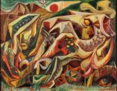 "André Masson, ""Paysage en forme de poisson"", 1941 oil on canvas 36 x 46 cm."