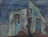 "Luis Claramunt, ""La chabola"", 1980 oli sobre tela 116,5 x 148,5 cm"