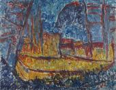 """Luis Claramunt, """"Puerto amarillo"""", 1985 óleo sobre tela 200 x 250 cm"""