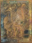 Will Faber 'Rara avis' 1950 wax crayons and grattage on paper 22 x 16,5 cm
