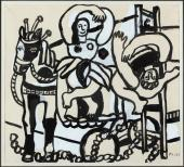 "Fernand Léger, ""Le trapéziste et l'ecuyère"", 1953 gouache, acuarela, tinta y lápiz sobre papel 32,4 x 36,2 cm."