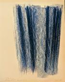 """Hans Hartung, """"Sin título"""", 1968, pastel y grattage sobre papel, 34,3 x 52 cm"""