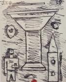 "Torres-García, ""Gran copa constructiva"", 1935 ink on paper 14,5 x 11,5 cm"