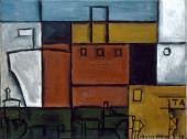 """Torres-García, """"Planisme au bateau"""", 1929 oil on canvas 54 x 73 cm"""