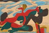 """Le Corbusier, """"Deux femmes nuages"""", 1937 pastel lavé i grafit sobre paper 27,5 x 30 cm © FLC/ADAGP Paris, 2017"""