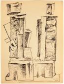 "Alberto Magnelli, ""Pierres, 8 août"",1931 tinta sobre papel 33,5 x 25 cm."