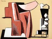 """Alberto Magnelli, """"Pierres"""", 1931 guaix sobre cartró 47,5 x 62,5 cm."""
