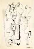 "Alberto Magnelli, ""Sans titre"",1936 tinta y lápiz sobre papel 32 x 21 cm."