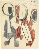 """Alberto Magnelli, """"Sans titre"""", 1936 tinta, lápiz y lápices de colores sobre papel 26,5 x 21 cm."""