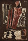 """Alberto Magnelli, """"Pierres nº 4G"""", 1933 pintura al tremp i fil sobre tela 125 x 86 cm."""