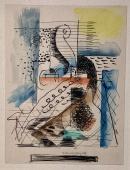"""Louise Marcoussis, """"Composition a l'abeille et au violon"""", 1928, ink, watercolor and pencil on paper 18,2 x 14 cm"""