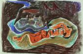 "André Masson, ""Toledo"", 1943 pastel on paper 48 x 63,5 cm."
