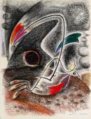 """André masson, """"Combat d'oiseaux"""", c.1940 pastel sobre paper 63,5 x 48,5 cm"""
