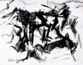 "Esteban Vicente, ""Sin título"", 1964 tinta i carbonet sobre paper 37 x 47,5 cm"
