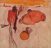 """Luis Claramunt, """"Figuras, ciudad y tambor"""", 1987 oli sobre tela 140 x 150 cm"""