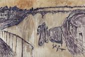 """Luis Claramunt, """"Embarcadero (Guadalquivir)"""", 1985 óleo sobre tela 200 x 300 cm"""