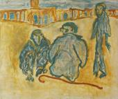 "Luis Claramunt, ""Tres figuras en la plaza"", 1986 oli sobre tela 132 x 155 cm"