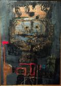 "Antoni Clavé, ""Rei Wamba"", 1959 óleo sobre cartón 91 x 64 cm"