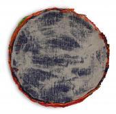 """Xavier Escribà, """"La face 'au culte' de la peinture (bleue)"""", 2001 acrílic sobre tela 83 cm."""