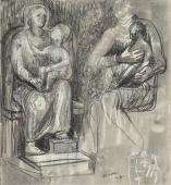 "Henry Moore, ""Madonna and child studies"", 1943 ceres, tinta i carbonet sobre paper 19,1 x 17,5 cm"