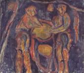 "Luis Claramunt, ""Tintoreros negros"", 1986 oil on canvas 130 x 148 cm"