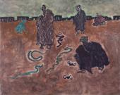 """Luis Claramunt, """"Encantador de serpientes"""", 1986 oli sobre tela 160 x 200 cm"""