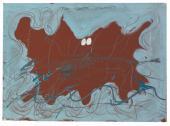 """Antoni Tàpies, """"Ondulacions blaves"""", 1971, acrílico y lápiz sobre papel sobre madera, 64,8 x 88,9 cm"""