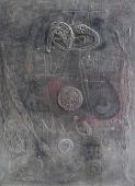 """Modest Cuixart, """"Homenaje a Eude"""", 1959 técnica mixta sobre tela 280 x 200 cm."""