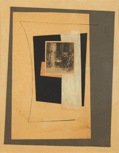 """Léon Tutundjian, """"Sans titre"""", 1925-1926 tinta y collage sobre papel 31 x 24 cm"""